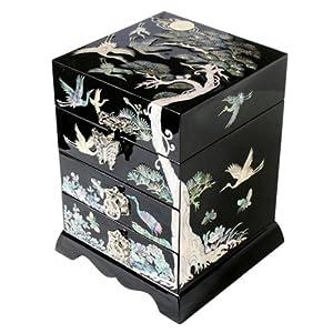 bo te bijoux 4 etages noire miroir bague cadeau femme nacre bois asie cor e bijoux. Black Bedroom Furniture Sets. Home Design Ideas