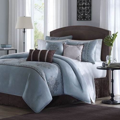 Brussel 7 Piece Comforter Set in Blue Size: Queen