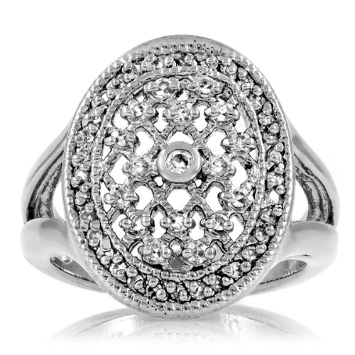 Celebrity Star Emitations Leeva's CZ Diamond Vampire Fantasy Wedding Ring - Sterling Silver Size 12