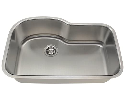Polaris Sinks P643-16 Offset Single Bowl Stainless Steel Sink