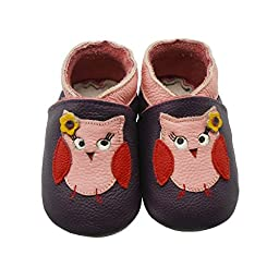 Sayoyo Baby Owls Soft Sole Leather Infant Toddler Prewalker Shoes(12-18 Months)