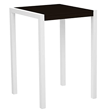"POLYWOOD 8002-13MA MOD 30"" Bar Table, Satin White/Mahogany"