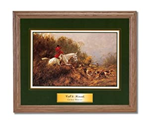 Victorian Fox Hunting Horse Dog Hounds Animal Wall Picture Oak Framed Art Print