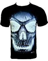 Rock Chang T-Shirt Illuminated Skull (Glow In The Dark/ brille dans l'obscurite) Noir GR 538 (s m l xl xxl)