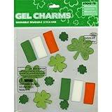 Shamrocks Irish Flag St Patrick's Day Gel Window Clings Charms Stick-ons