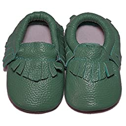 Baby Conda Handmade Teal Baby Moccasins * 100% Genuine Leather * Soft Sole Slip on Baby Shoes for Boys and Girls * 100% Money Back Guarantee Size 6 - 12 Months
