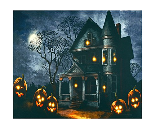 Haunted House Lighted-Up LED Canvas Wall Art