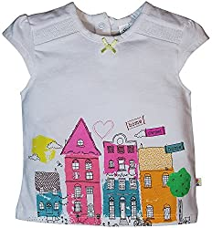 FS Mini Klub Baby Girls Regular Fit T Shirt (88EGTTS0280-White 1_6 - 9 Months, White, 6 - 9 Months)