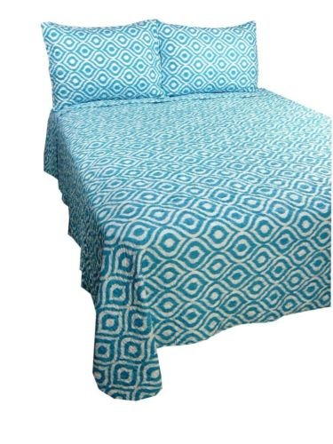 Aqua Blue Ikat Reversible Quilt & Sham Bedding Set - Microfiber - Choose Size front-928471
