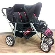 Red and Black Triple Trio Tandem Baby Jogger Stroller with Rain Canopy - Free Matching Carry Bag