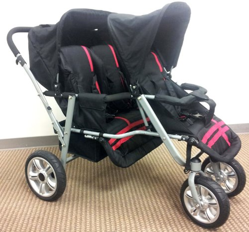 Red And Black Triple Trio Tandem Baby Jogger Stroller With