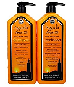 Agadir Argan Oil Daily Moisturizing Shampoo and Conditioner Liter Combo Set 33.8 oz