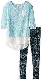 One Step Up Big Girls\' Sweater Knit Top with Leggings 2-Piece Set, Jade Black, Medium/10-12