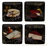 Certified International Wine and Cheese Party Assorted Designs Canape Plate, 6-Inch, Set of 4