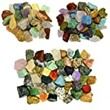 Fantasia Materials: 3 lb Premium World Stone Mix (LARGEST VARIETY ON AMAZON) from Asia, Brazil and Madagascar! Bulk Rough Raw Natural Crystals for Cabbing, Cutting, Lapidary, Tumbling, Polishing, Wire Wrapping, Wicca and Reiki Crystal Healing *Wholesale Lot*