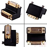 Allytech(TM) 1 Pack DVI-I 24 + 5 Pin Male To Female M/F Gold Plated 90 Degree Right Angle Adapter Monitor Connector