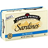 Crown Prince Sardines in Water, 4.25-Ounce Cans (Pack of 12)