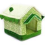Dream-Chip 犬小屋 室内 ペット用品 犬 ベッド 小型犬 折りたたみ ドーム型 犬用 猫用 四季通用 グリーン