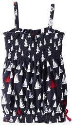 Hatley Little Girls\' Bubble Top Scattered Sails, Blue, 4T