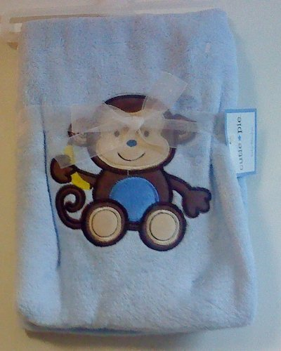 Cutie Pie Monkey Blue Baby Blanket - 1