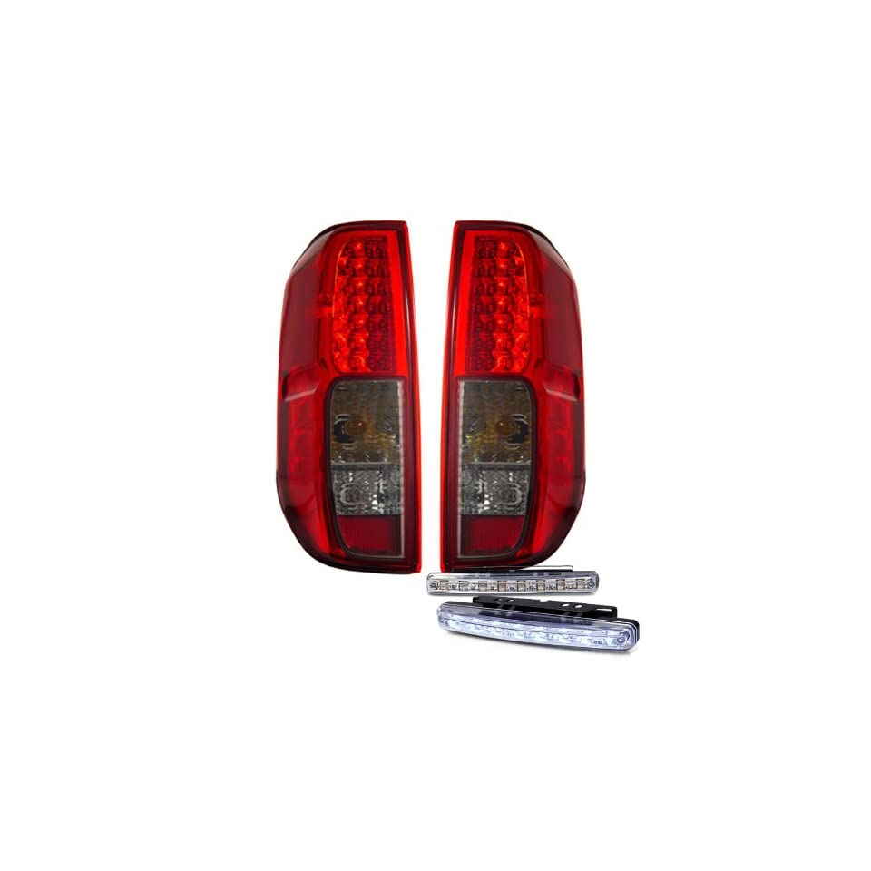 2005 2010 NISSAN FRONTIER RED SMOKE LED TAIL LIGHTS REAR BRAKE LAMPS +DRL BUMPER
