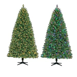 Pre-Lit 7.5 ft LED Color Changing Artificial Christmas Tree, Multi-Color to Clear Lights