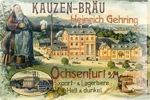 blechschild kauzen br u brauerei fabrik heinrich gehring ochsenfurt export hell dunkel bier. Black Bedroom Furniture Sets. Home Design Ideas