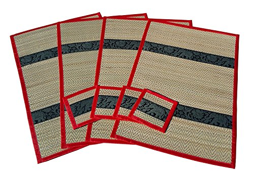 Thai Elephant Pattern Handmade Dinner Reed Placemats and Coaster Set of 4. (Honda Led Emblem compare prices)