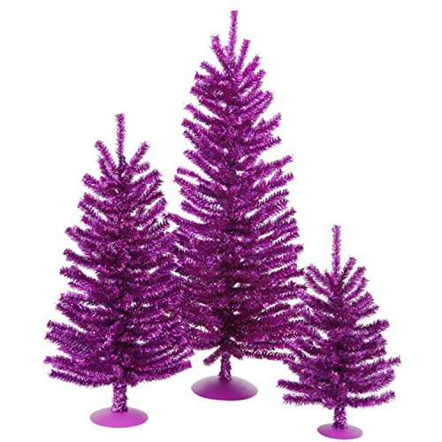 Vickerman Unlit Sparkling Purple Tinsel Artificial Christmas Trees, Set of 3, 12