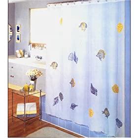 Tropical Waters Fabric Shower Curtain