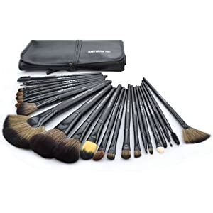 Roll up Case Cosmetic Brushes Kit 24 PCS Pro Wooden Handle Makeup Brush Tool (Black)
