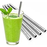 Eco at Heart Stainless Steel Reusable Straws - Set of 5 Metal Smoothie & Milkshake Drinking Straws - Cleaning Brush Included - Extra Wide & Straight for Easy Sipping + FREE SMOOTHIE RECIPES EBOOK