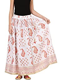 Saadgi Rajasthani Hand Block Printed Handcrafted Ethnic Lehnga Skirt For Women/Girls - B06XGHG6XC