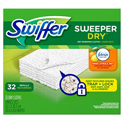 Swiffer Sweeper Dry Sweeping Pad Refills for Floor mop with Febreze Sweet Citrus & Zest Scent 32 Count (Pack of 3) (Ridge Wet Vac Filter compare prices)