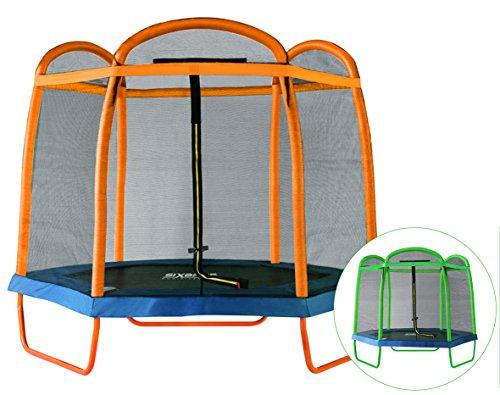 SixBros. SixJump 2,10 M Gartentrampolin Orange Trampolin mit Sicherheitsnetz TO210/2027 thumbnail