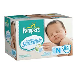 Pampers Swaddlers Sensitive Diapers Super Pack Size Newborn 88 Count