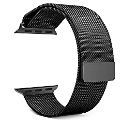 Apple Watch Band, MoKo Milanese Loop Stainless Steel Bracelet Smart Watch Strap for iWatch 38mm All Models with Unique Magnet Lock, No Buckle Needed - Space GRAY (Not Fit iWatch 42mm Version 2015)