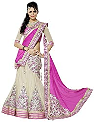 DWM Collection Women's Synthetic Semi-Stitched Lehenga Choli (Pink)