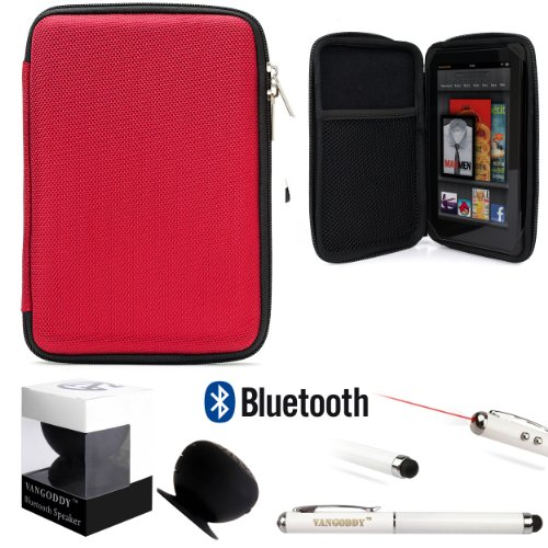 Travel Hard Nylon Lightweight Case For Rca Rct Rct6378W2, Rct6077W22, Rct6077W2 7-Inch Tablet + Black Bluetooth Suction Speaker + Stylus Pen
