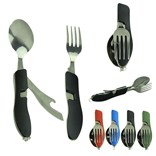 Sjinc Newest Hot Sale Camping Outdoor Foldable Multi-Function Cutlery Fork Spoon With Case Carry Bag Picnic Tableware Cookware Stainless (Black)