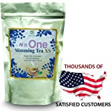 Weight Loss Tea - All in One Extra Strength Thermogenic Diet Tea 100% All Herbal ingredients formulated to control appetite up to 6-8 hours and burn fat even when you sleep! Only One Cup a Day Helps Lose More Weight than with Diet Alone