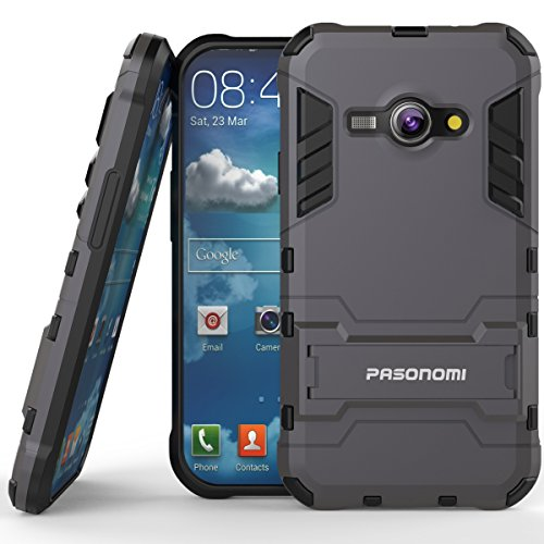 J1 Ace Case, Pasonomi® [Slim Fit] [Kickstand Feature] Hybrid Dual Layer Armor Defender Full Body Protective Case Cover for Samsung Galaxy J1 Ace (J110M) 4.3 inch 2015 (Dark Blue) (Galaxy Ace Kickstand Cases compare prices)