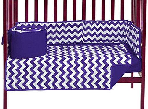 Baby Doll Chevron Port- A-Crib Bedding, Plum, 3 Piece