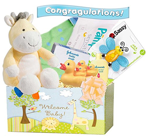 "Little Miracles ""Welcome Home"" 18 Piece Deluxe Baby Gift Basket, Yellow, Neutral"