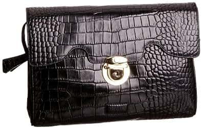 Osprey London Women's Tango Polished Croc Clutch Black 0351-50