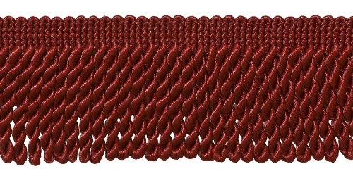 2.5 Inch Bullion Fringe Trim, Style# EF25 Color: CHERRY RED -E13, Sold By the Yard