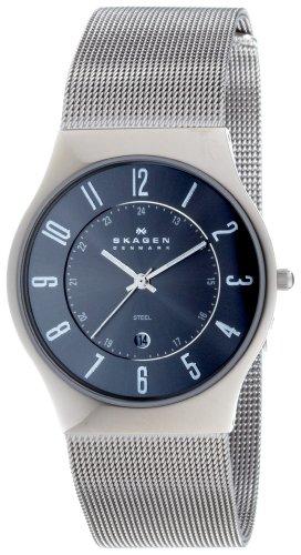 Charcoal Steel Mesh Men's Three Hand Watch