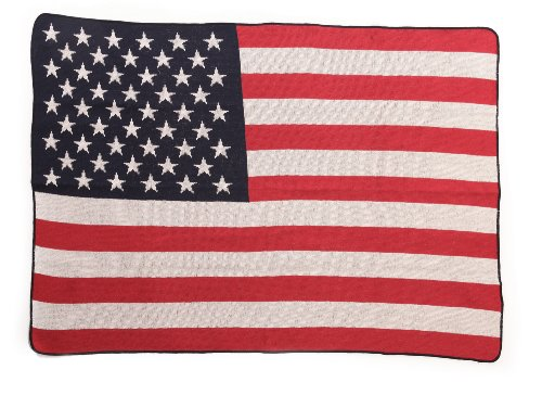 Green 3 US Flag Throw Blanket, Red/White/Blue - 1