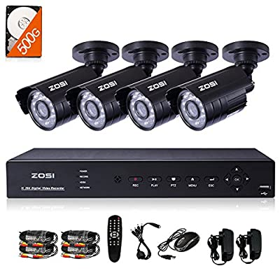 ZOSI 8CH H.264 960H 1080P HDMI DVR with Smartphone Monitoring + 4 x Indoor outdoor 800TVL 960H weatherproof 65ft 20m Night vision Cameras Surveillance Security System 1000GB Hard Disk (metal case)