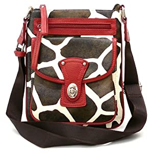 Giraffe Print Cross Body Messenger Bag Handbag